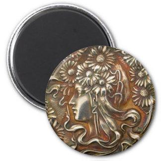 Silver Lady Art Nouveau Vintage Costume Jewelry Magnet