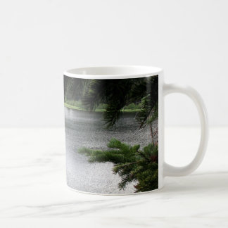 Silver Lake Framed by Evergreen Boughs Classic White Coffee Mug