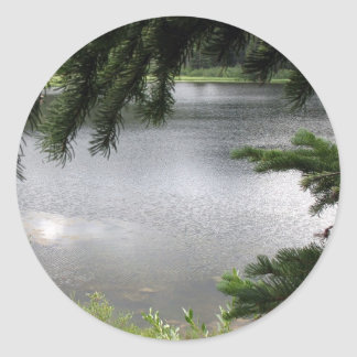 Silver Lake Framed by Evergreen Boughs Round Sticker