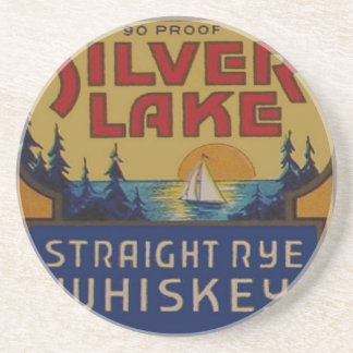 Silver Lake Whiskey Vintage Ad Label Beverage Coasters
