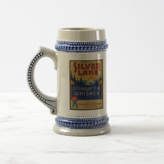 Silver Lake Whiskey Vintage Alcohol Art Label 18 Oz Beer Stein