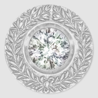 Silver Laurel Wreath and Diamond Envelope Seal