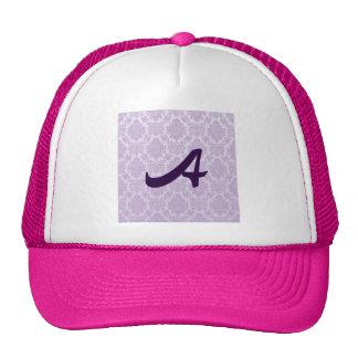 silver,lavender,chic,damasks,floral,lace,pattern, trucker hat