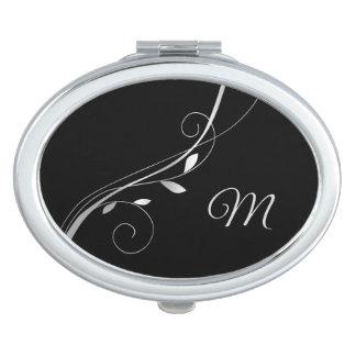 Silver Leaf Swirl Monogram on Black Mirrors For Makeup