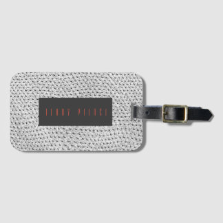 Silver Leather Look Textured Luggage Tag
