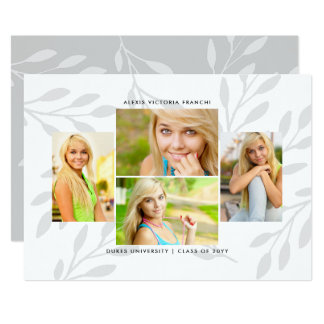 Silver Leaves 4 Photo Graduation Announcement