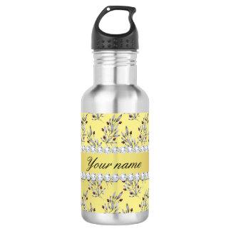 Silver Leaves Berries Faux Gold Foil Bling Diamond 532 Ml Water Bottle