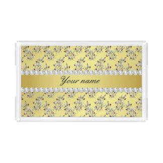 Silver Leaves Berries Faux Gold Foil Bling Diamond Acrylic Tray