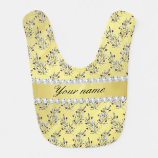 Silver Leaves Berries Faux Gold Foil Bling Diamond Baby Bibs