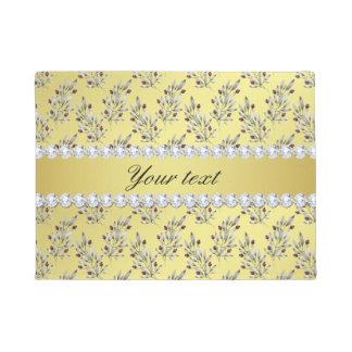 Silver Leaves Berries Faux Gold Foil Bling Diamond Doormat