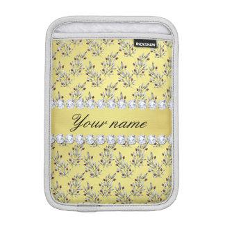 Silver Leaves Berries Faux Gold Foil Bling Diamond iPad Mini Sleeve