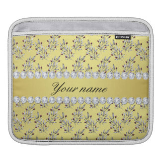 Silver Leaves Berries Faux Gold Foil Bling Diamond iPad Sleeve