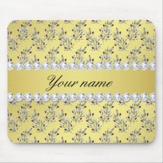 Silver Leaves Berries Faux Gold Foil Bling Diamond Mouse Pad