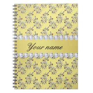 Silver Leaves Berries Faux Gold Foil Bling Diamond Notebook