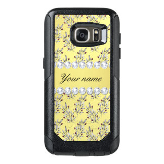 Silver Leaves Berries Faux Gold Foil Bling Diamond OtterBox Samsung Galaxy S7 Case