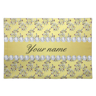 Silver Leaves Berries Faux Gold Foil Bling Diamond Placemat