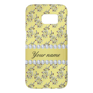 Silver Leaves Berries Faux Gold Foil Bling Diamond Samsung Galaxy S7 Case