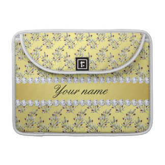 Silver Leaves Berries Faux Gold Foil Bling Diamond Sleeve For MacBook Pro