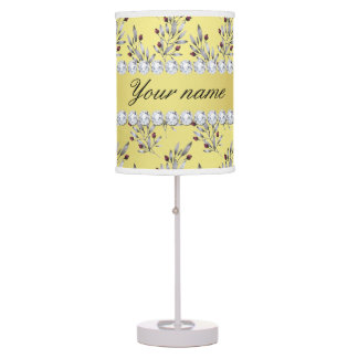 Silver Leaves Berries Faux Gold Foil Bling Diamond Table Lamp