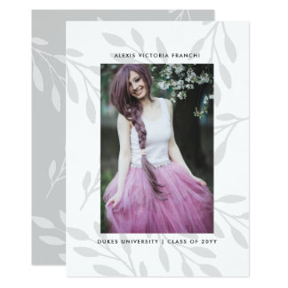 Silver Leaves Photo Graduation Announcement