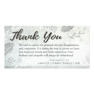 Silver Leaves Thank You Sympathy from Family Photo Greeting Card
