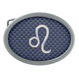 Silver Leo Zodiac Symbol Navy Carbon Fiber Print Oval Belt Buckles