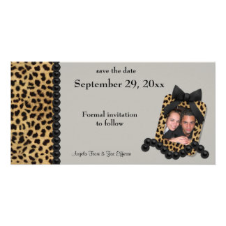 Silver Leopard And Black Pearls Save The Date Personalized Photo Card