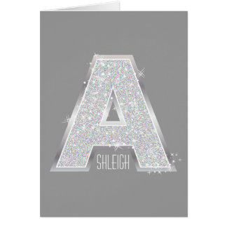 Silver Letter A Card