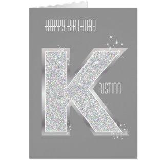Silver Letter K Card
