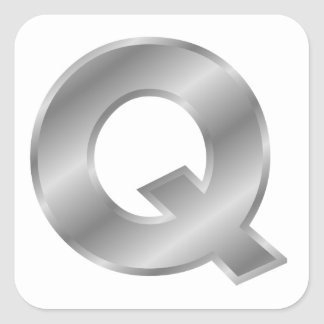 Silver Letter Q Square Sticker
