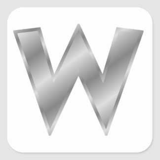 Silver Letter W Square Sticker