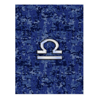 Silver Libra Zodiac Sign on blue digital camo Postcard