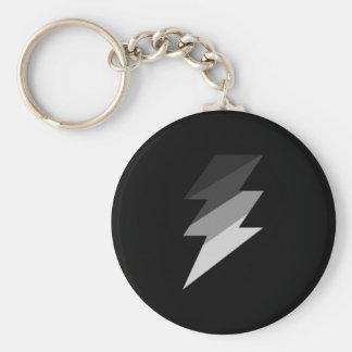 Silver Lightning Thunder Bolt Basic Round Button Keychain