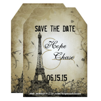 Silver Lights Eiffel Tower  Save the Date Card