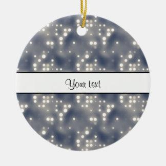 Silver Lights Round Ceramic Ornament