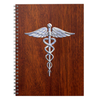 Silver Like Caduceus Medical Symbol Mahogany Print Notebooks