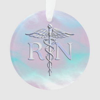 Silver Like RN Caduceus Medical Mother Pearl