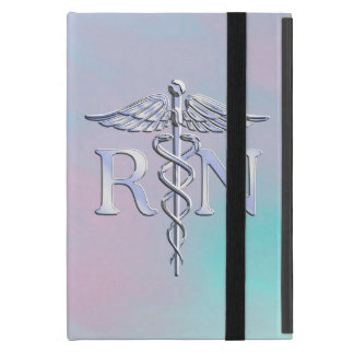 Silver Like RN Caduceus Medical Mother Pearl Cover For iPad Mini