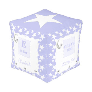 Silver / lilac moon and stars pouf Dream Big