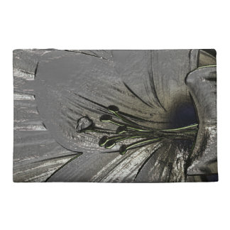 Silver lily flowers cosmetic bag glitters