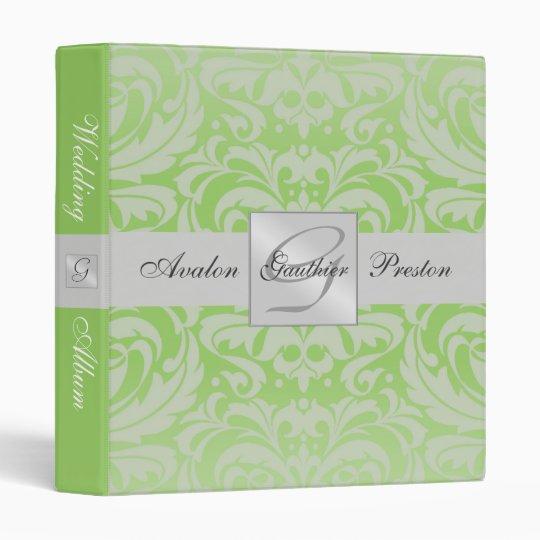 Silver & Lime Monogram Damask Wedding Album Binder