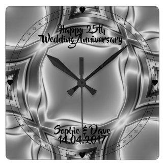 Silver Lines 25th Silver Wedding Anniversary Square Wall Clock