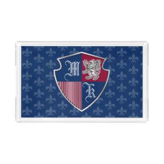 Silver Lion Coat of Arms Monogram Emblem Shield Acrylic Tray