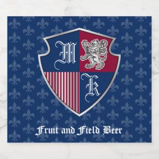 Silver Lion Coat of Arms Monogram Emblem Shield Beer Bottle Label