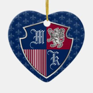 Silver Lion Coat of Arms Monogram Emblem Shield Ceramic Ornament
