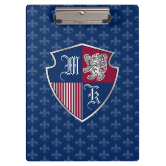 Silver Lion Coat of Arms Monogram Emblem Shield Clipboard