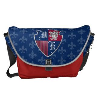 Silver Lion Coat of Arms Monogram Emblem Shield Courier Bag