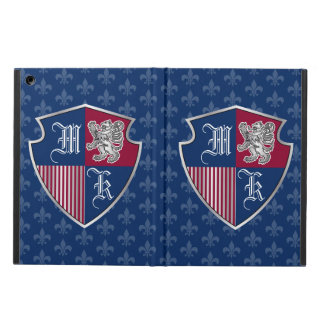 Silver Lion Coat of Arms Monogram Emblem Shield Cover For iPad Air