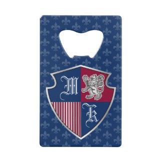 Silver Lion Coat of Arms Monogram Emblem Shield Credit Card Bottle Opener