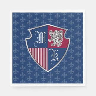 Silver Lion Coat of Arms Monogram Emblem Shield Disposable Napkin